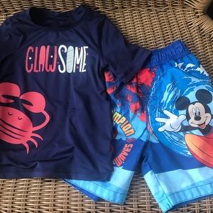 3T Mickey Mouse Swim trunks and crab rash guard